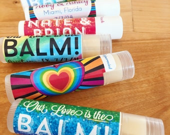 Pride Rainbow Lip Balm | Wedding Lip Balm | Multicolor Chapstick Rainbow Lip Balm for Pride Celebration | LGBTQ Rainbow Birthday Party Favor