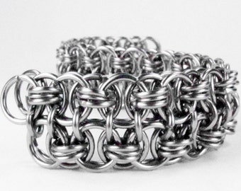 Chainmaille Bracelet - Helms Weave Pattern - Double Wide Cuff