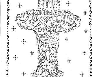 Cross Instant Download Printable Art Scripture Christian Print/digital/church/digi stamp/adult coloring