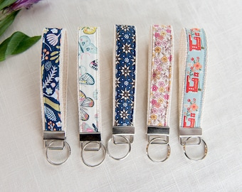 Set of 5 Key Fobs | Key Fob, Keychain, Fabric Key Fob, Fabric Keychain, Fabric Wristlet, Womens Key Fob, keychain for women, gifts for women