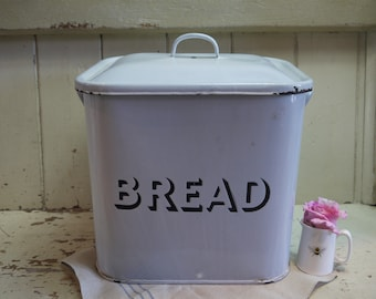 Vintage Enamel Bread Bin - White Enamel Bread Box - White Bread Bin - English Bread Box - English Enamel - Enamel Bread Box - White Enamel