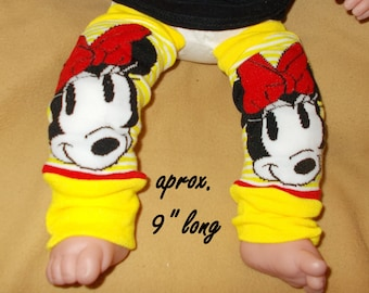 Leg warmer, Infant- Cartoon in black and white on yellow stripe  -infant leg warmer,  leg warmer, baby girl leg warmer, baby leg warmer