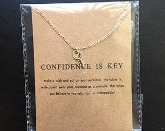 Gold key necklace, lock necklace