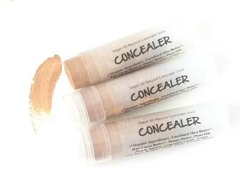 All Natural Concealer for Neutral to Dark Skin in Twist Up Tube- Shea Butter Aloe Mineral Concealer for Healthy Skin. 100% Vegan.