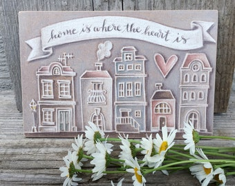 House Warming Gift - Home is Where the Heart is Quote - Shabby Chic Wall Hanging - Home Decor Sign - New Home Gift - Print on Wood - Rustic