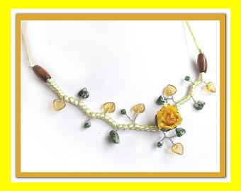 Yellow Flower necklace branch beads.