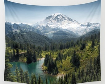 Tapestry, Mountain, Wall Hanging, Nature Tapestry, Mt. Rainier, Tolmie Peak, 3 Sizes