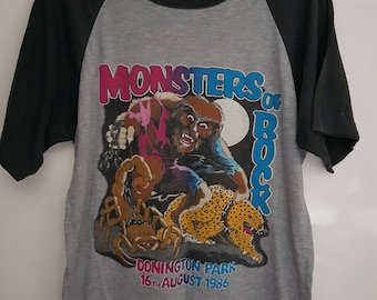 Original Rare Vintage Monsters of Rock Ozzy Osbourne Motorhead Scorpions  Concert T-Shirt Shipped from the UK