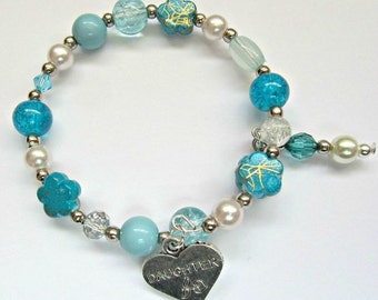 Turquoise daughter memory wire bracelet,party bag gift.Birthday present,