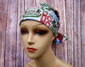 Handmade Surgical Scrub Cap - Scrub Hat - Ponytail - Winter Wonderland - Christmas Scrub Hat