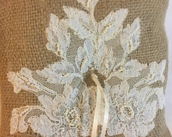 Burlap and Lace Recycled Wedding Ring Pillow