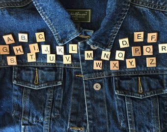 Scrabble Piece Pins - customize your jean jacket, backpack, or hat