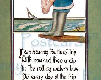 Testing the WATER, cute girl diving into water at seashore, Vintage Printable  POSTCARD, Instant DIGITAL Download