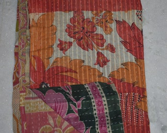 Throw Cotton Blanket Indian Handmade Quilt Vintage Twin Kantha Bedspread 2677 BY artisanofrajasthan