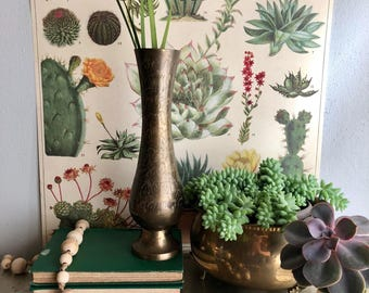 vintage tall etched brass vase tall boho