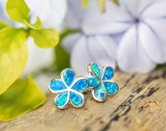 Plumeria Flower Blue Opal Stud Earrings