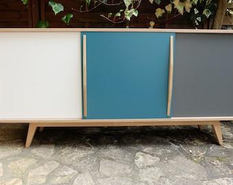 Sideboard in oak 3 handles with sliding doors