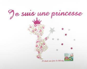 Applied fusing liberty Eloise pink Princess girl. Fusing liberty patch iron iron on liberty