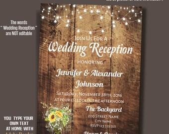 Sunflower mason jar Wedding Reception Invitation, Rustic wedding, Instant Download Self Editable PDF file A226