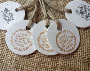 5 Christmas tags. Rustic clay Christmas gift tags.