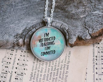 Book Lovers Pendant or Keyring, Literary Jewelry, Gifts For Bookworms, Stocking Stuffer, Literary Necklace