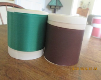 Ribbon, vintage satin remnants one green and one brown 1940's 2-3 yards each