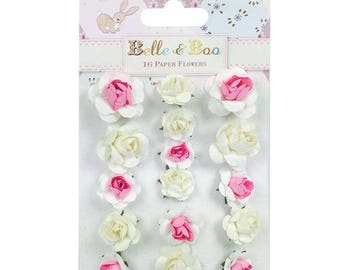 LOT 16 Pink White SCRAPBOOKING SCRAP paper flowers card 2 and 3cm wedding BELLE & BOO
