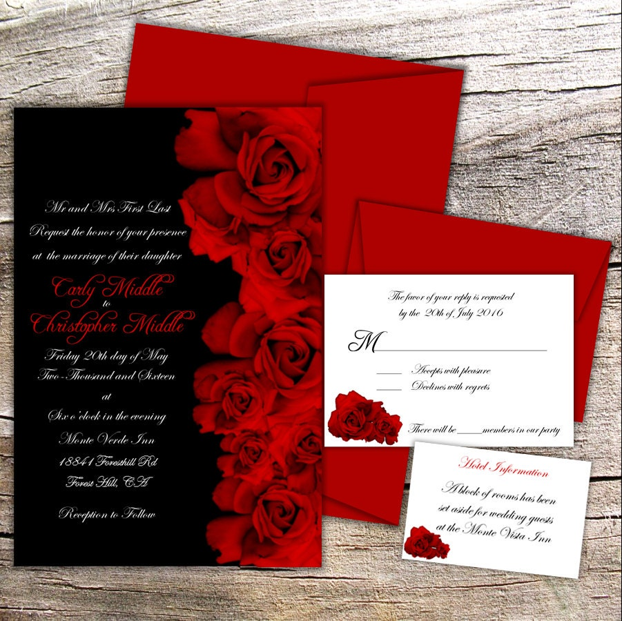 Red Rose Wedding Collection Black and Red Invitation RSVP