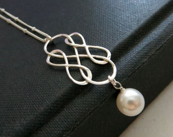 Mother in law gift, Triple infinity necklace with pearl drop, mother of the groom gift from bride, elegant pearl necklace, mom necklace