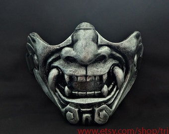 Half cover  Knight Samurai Mask, Airsoft mask, Halloween Costume Cosplay Steampunk Wall Mask, Hannya Kabuki Evil Demon Onimaru Mask MA229