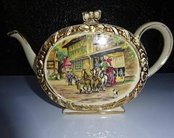 Sadler Ceramic Barrel Shape/Cube Shape Tea Pot/Coach & Horses Scene/Sadler Tea Pot/Tea Pot/Vintage Tea Pot/Collectable/Vintage/1950s
