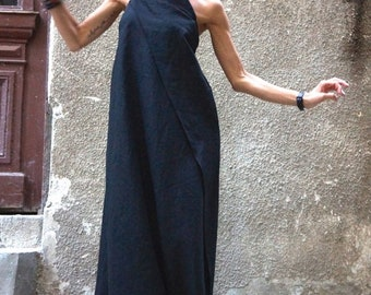 SALE Maxi Dress / Black Kaftan Linen Dress / One Shoulder Dress / Extravagant Long  Dress / Party Dress  by AAKASHA A03144