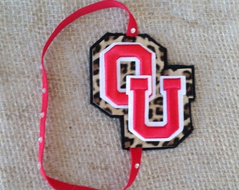 Girl's OU Sooners Leopard and Red Headband with Rhinestones ~ University of Oklahoma