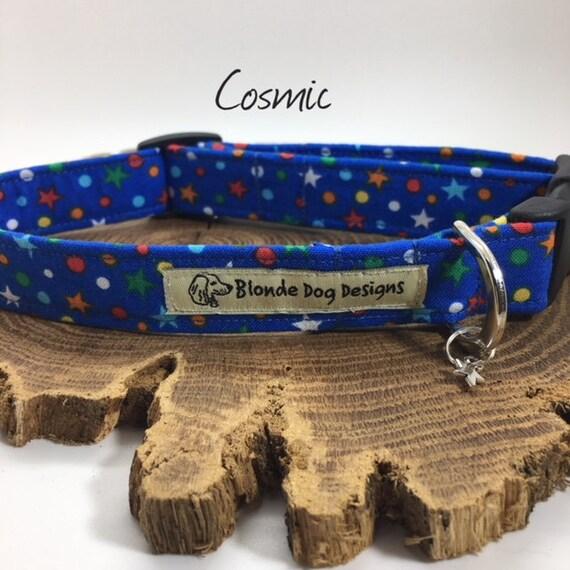 Star Dog Collar, Cosmic, Blue Dog Collar, Cute Dog Collar, Dog Collar UK.