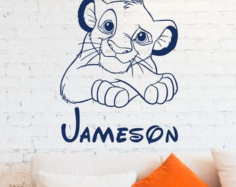 Simba FREE SHIPPING Wall Decal Personalized Boy Name Vinyl Sticker Lion King Art Disney Decorations For Home Teen Kids Boys Room Bedroom 07