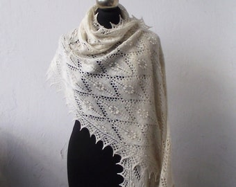 Wedding shawl, hand knitted lace stole, natural white lace shawl, bridal shawl, bridal cover  up