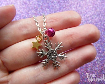 Snowflake Necklace | Christmas Necklace, Winter Necklace, Christmas Jewelry, Let It Snow, Let It Go, Snowflake Pendant, Secret Santa Gift