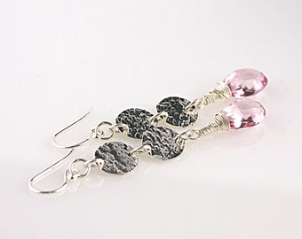 Pink Quartz and 2 Hammered Sterling Disc Earrings