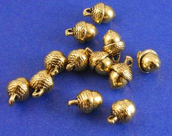 "10 pcs -Antique Gold Acorn Gold Tone Acorn, Gold Nut, 14mm (1/2"") x 10mm (3/8"")- GP-B0084838"