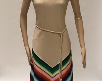 Boho Maxi Dress Chevron Stripe Frock Shawl Belt Fred Rothschild California