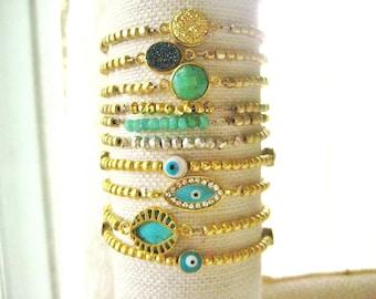 Stretch Gold plated beads bracelet, Chalcedony, Bluish/green beaded long layered, bohemian, bridesmaid, gemstone,layered
