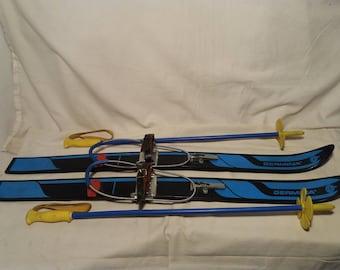 Vintage Plastic Ski & Ski Poles - Children's Size.Brand:GERMINA - DDR