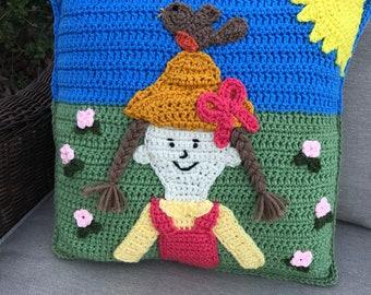 Spring time Pillow, throw pillow, crochet pillow, girl pillow, home decor, 3D pillow, bird pillow, nursery, bedroom, living room, heirloom