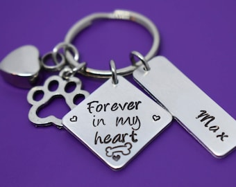 Urn - Cremation Pet Memorial Jewelry - Dog Memorial Keychain - Pet Loss Gift - Forever in my Heart - In Memory of Dog Dog Remembrance