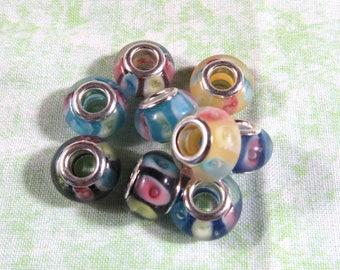 10 Striped Glass Lampwork Euro Beads (B456L/509d1)