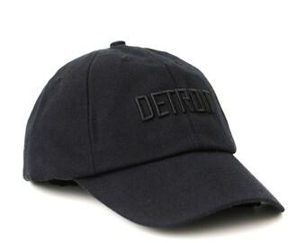 black Detroit snapback hat