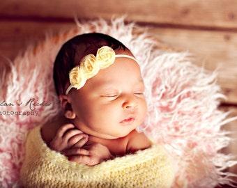 Petite Yellow Chiffon Rosette Headband, Newborn Headband, Baby Flower Headband, Baby Girl Flower Headband, Photography Prop
