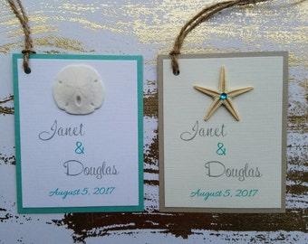 10 Beach Wedding Starfish or Sand Dollar favor tags wedding favor tag or place card tags Natural starfish or sand dollar favor tag
