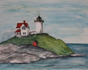 Maine Lighthouse, Original Watercolor Painting, Original Painting on Paper, Lighthouse Painting, Maine USA