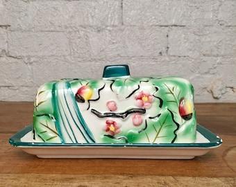 Vintage Floral Fruit Bird Ceramic Pottery Butter Dish Plate Lid Kitchen Table Decor